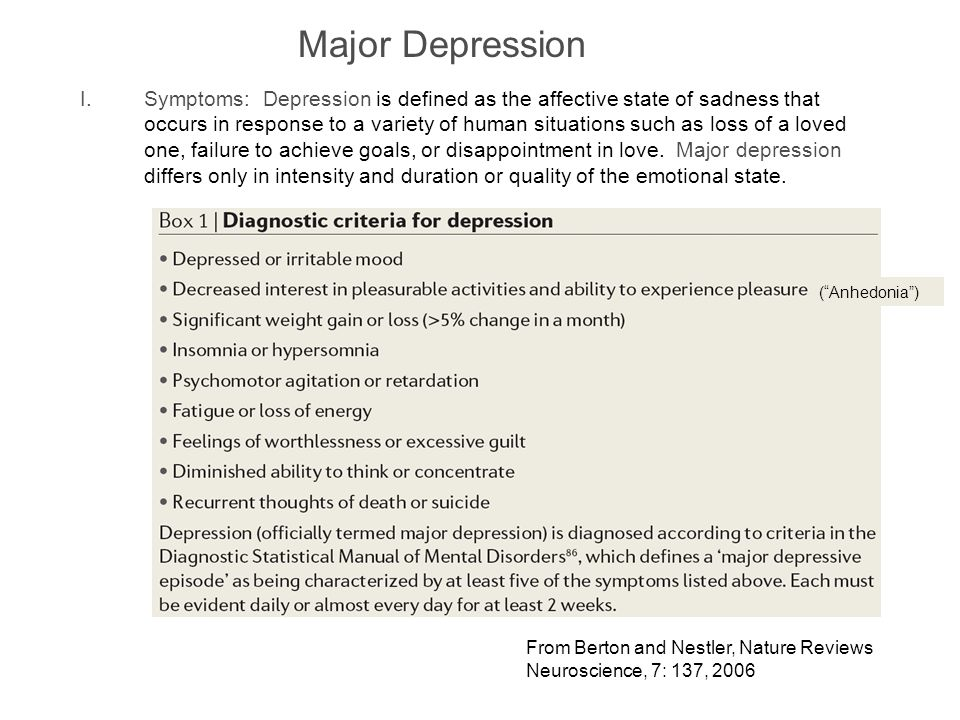 Major Depression I.Symptoms: Depression is defined as the affective state of sadness that occurs in response to a variety of human situations such as loss of a loved one, failure to achieve goals, or disappointment in love.