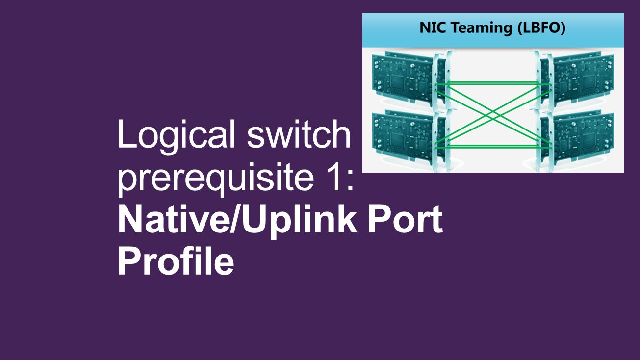 Logical switch prerequisite 1: Native/Uplink Port Profile