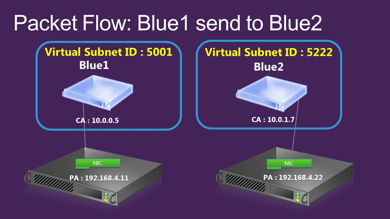 PA : 192.168.4.11 NIC PA : 192.168.4.22 CA : 10.0.0.5 CA : 10.0.1.7 Blue1 Blue2 Virtual Subnet ID : 5001 Virtual Subnet ID : 5222