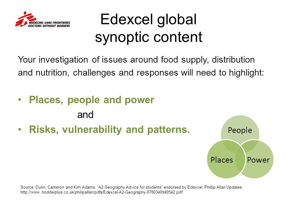 Edexcel global synoptic content Your investigation of issues around food supply, distribution and nutrition, challenges and responses will need to highlight: Places, people and power and Risks, vulnerability and patterns.