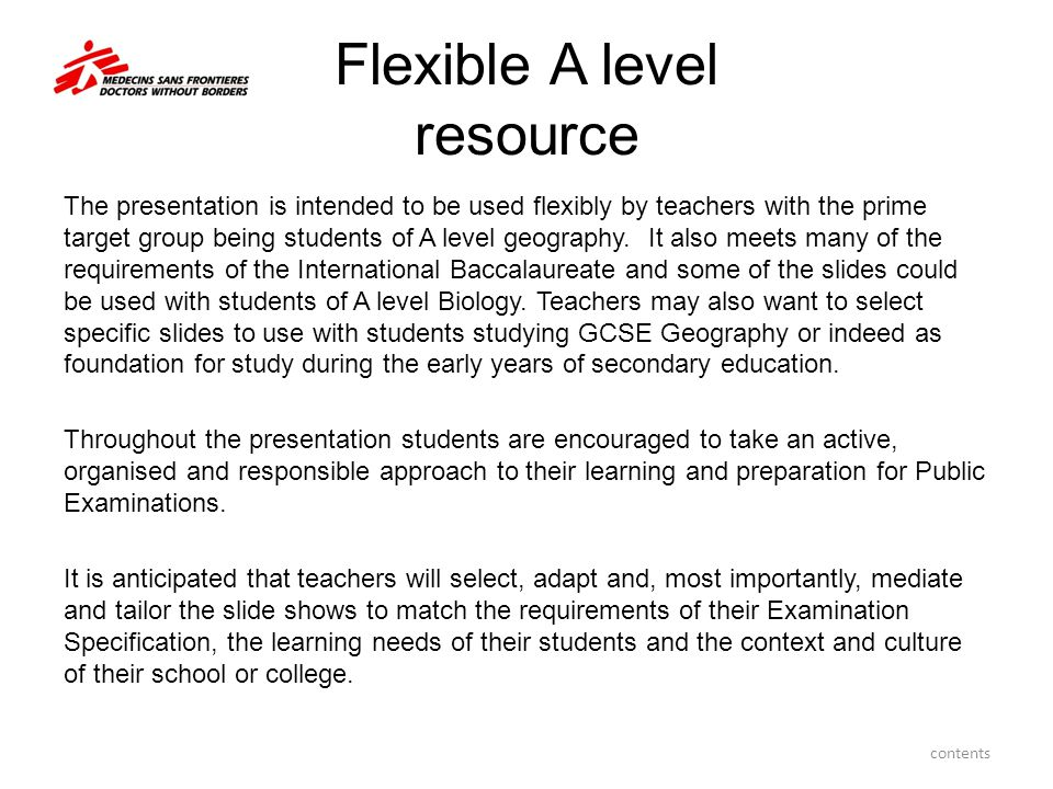 Customisation of this presentation In examinations with pre-release materials teachers may wish to select slides which encourage students to develop a comprehensive overview.