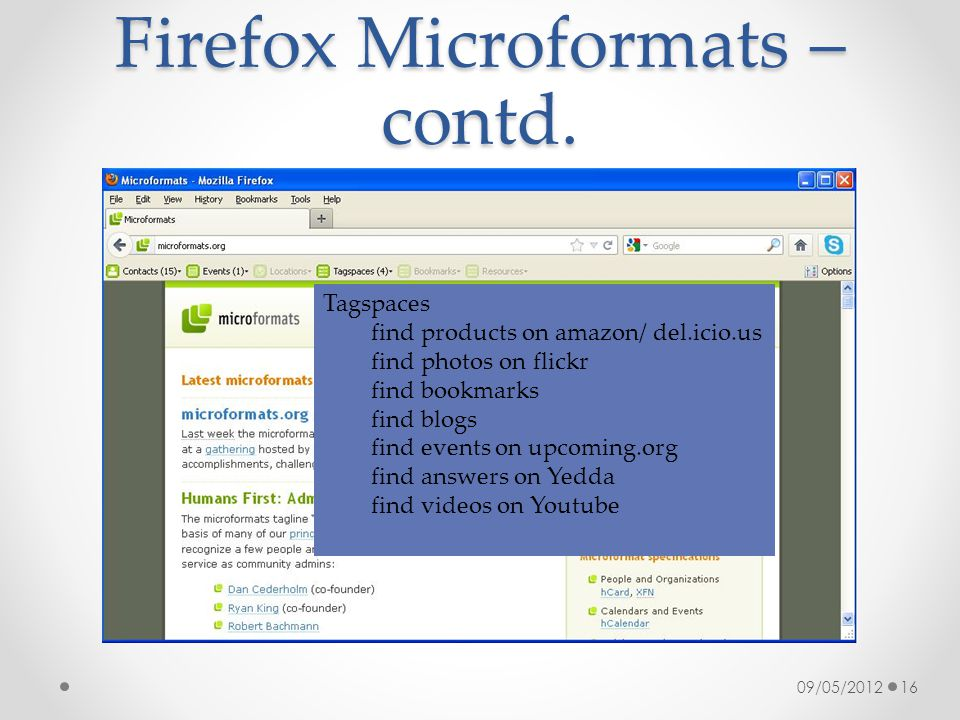 Firefox Microformats – contd. 09/05/201216 Tagspaces find products on amazon/ del.icio.us find photos on flickr find bookmarks find blogs find events