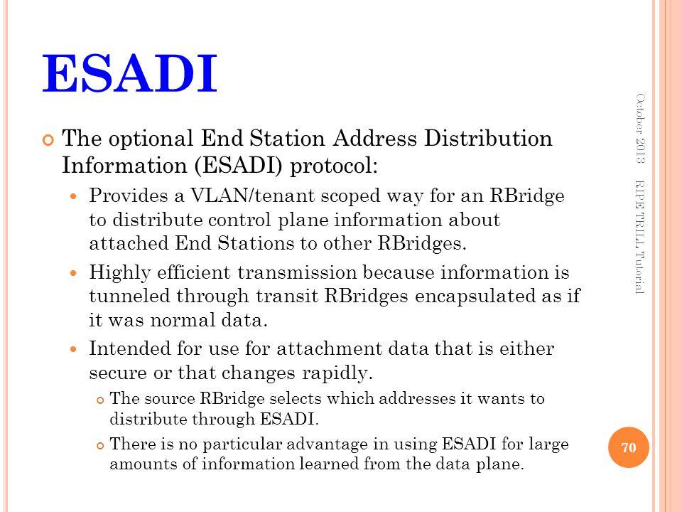 ESADI The optional End Station Address Distribution Information (ESADI) protocol: Provides a VLAN/tenant scoped way for an RBridge to distribute contr