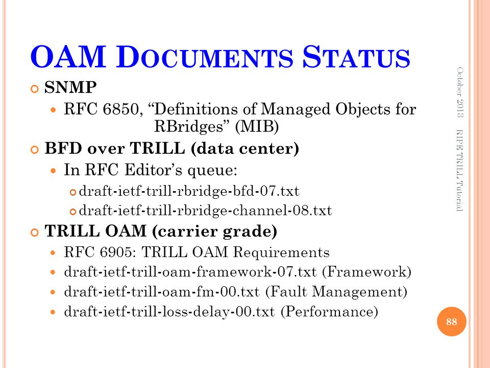 """OAM D OCUMENTS S TATUS SNMP RFC 6850, """"Definitions of Managed Objects for RBridges"""" (MIB) BFD over TRILL (data center) In RFC Editor's queue: draft-ie"""