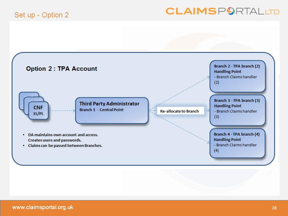 www.claimsportal.org.uk Set up - Option 2 28