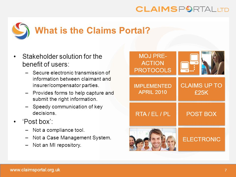 www.claimsportal.org.uk What is the Claims Portal.