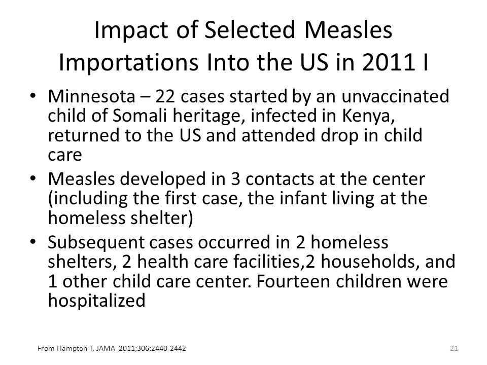 Impact of Selected Measles Importations Into the US in 2011 I Minnesota – 22 cases started by an unvaccinated child of Somali heritage, infected in Kenya, returned to the US and attended drop in child care Measles developed in 3 contacts at the center (including the first case, the infant living at the homeless shelter) Subsequent cases occurred in 2 homeless shelters, 2 health care facilities,2 households, and 1 other child care center.