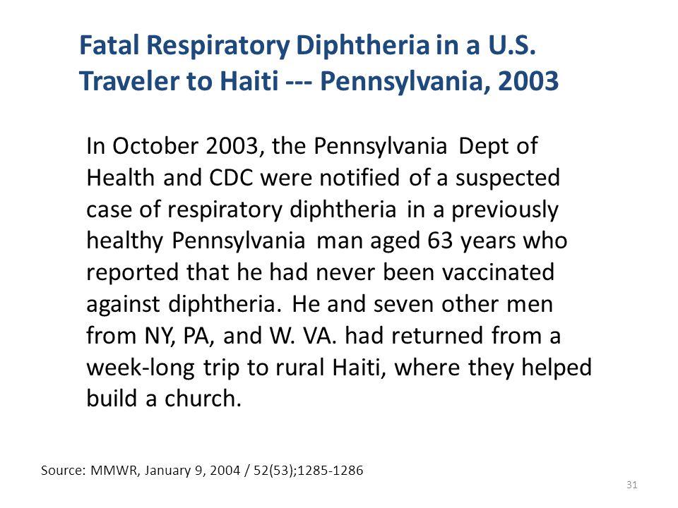 Fatal Respiratory Diphtheria in a U.S.
