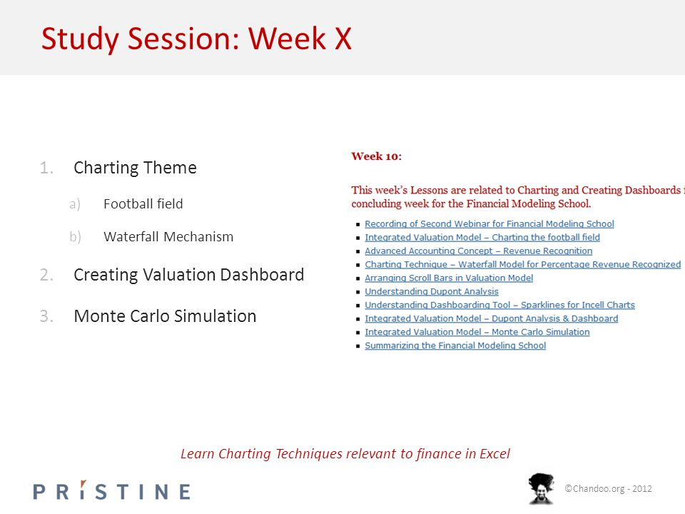 ©Chandoo.org - 2012 Study Session: Week X 1.Charting Theme a)Football field b)Waterfall Mechanism 2.Creating Valuation Dashboard 3.Monte Carlo Simulation Learn Charting Techniques relevant to finance in Excel
