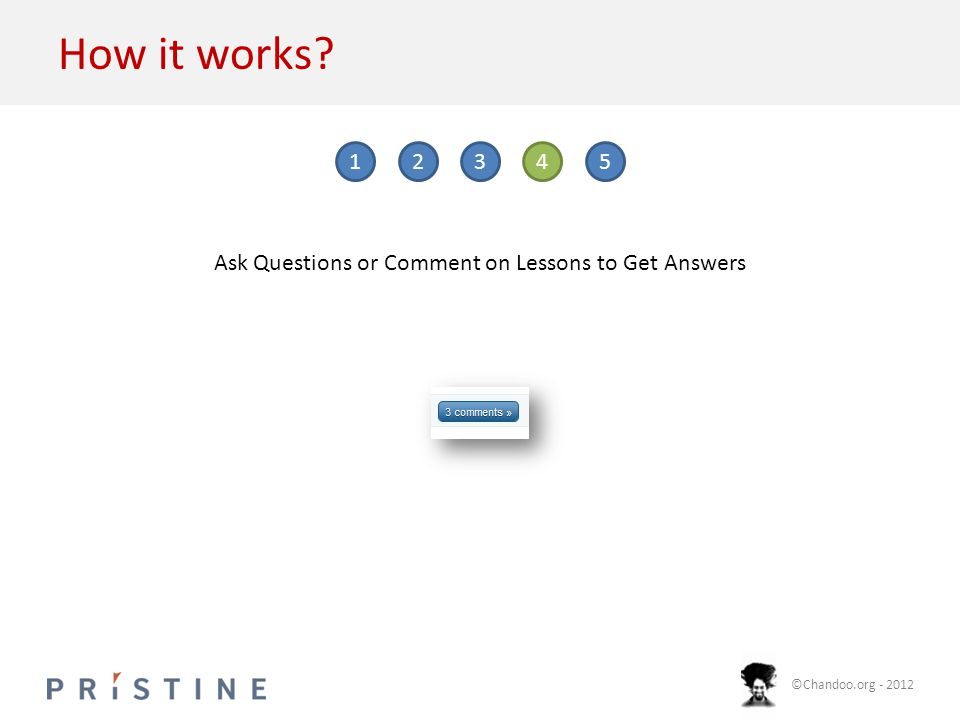 ©Chandoo.org - 2012 How it works 12345 Ask Questions or Comment on Lessons to Get Answers