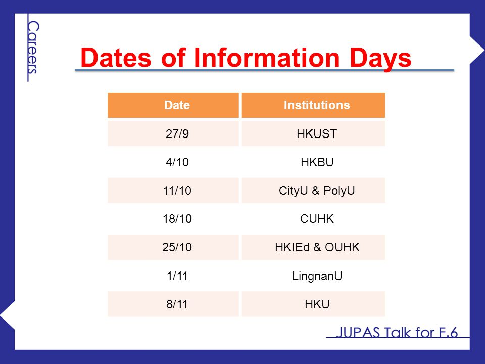 DateInstitutions 27/9HKUST 4/10HKBU 11/10CityU & PolyU 18/10CUHK 25/10HKIEd & OUHK 1/11LingnanU 8/11HKU Dates of Information Days