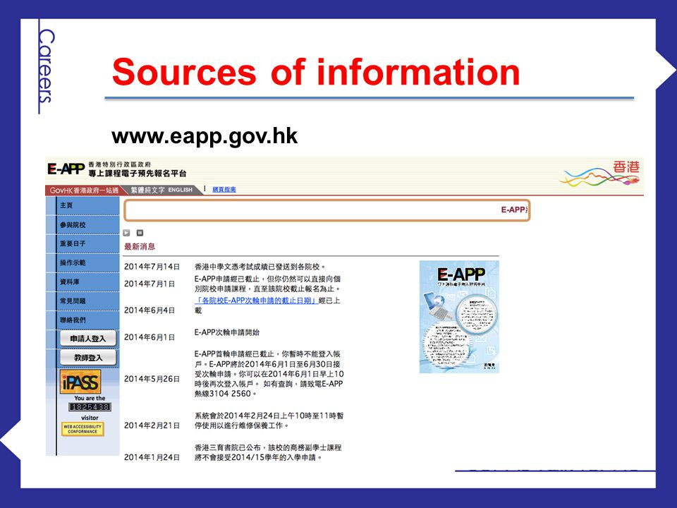 www.eapp.gov.hk Sources of information
