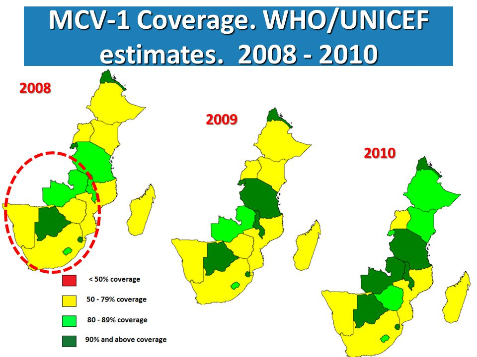 Zimbabwe measles cases and coverage (1995-2010) & monthly case reports (2008 – 2011)