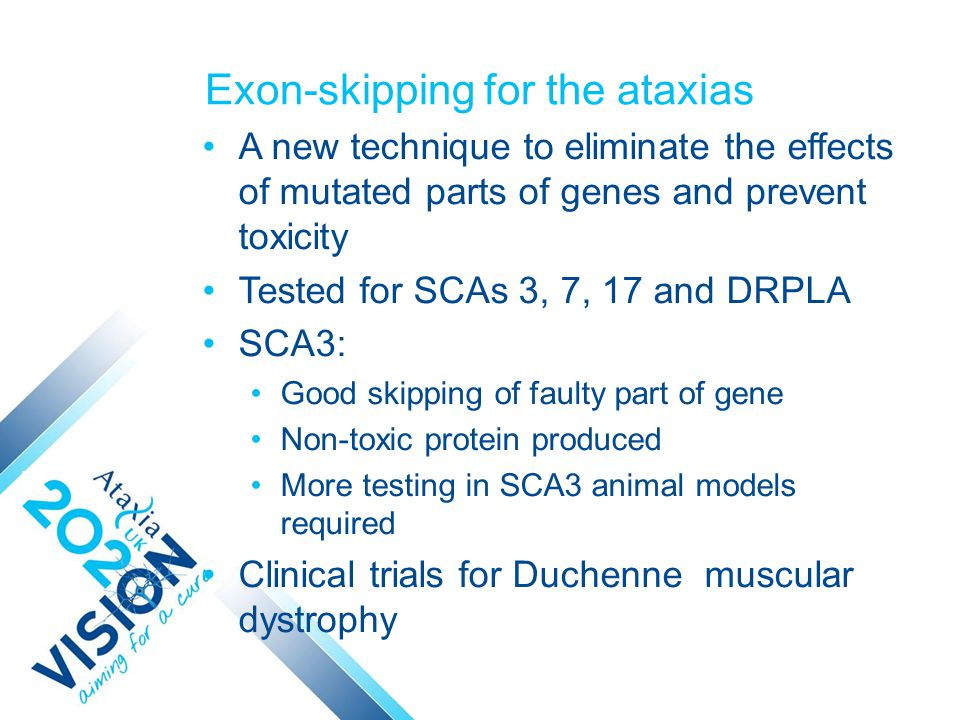 Exon-skipping for the ataxias A new technique to eliminate the effects of mutated parts of genes and prevent toxicity Tested for SCAs 3, 7, 17 and DRPLA SCA3: Good skipping of faulty part of gene Non-toxic protein produced More testing in SCA3 animal models required Clinical trials for Duchenne muscular dystrophy