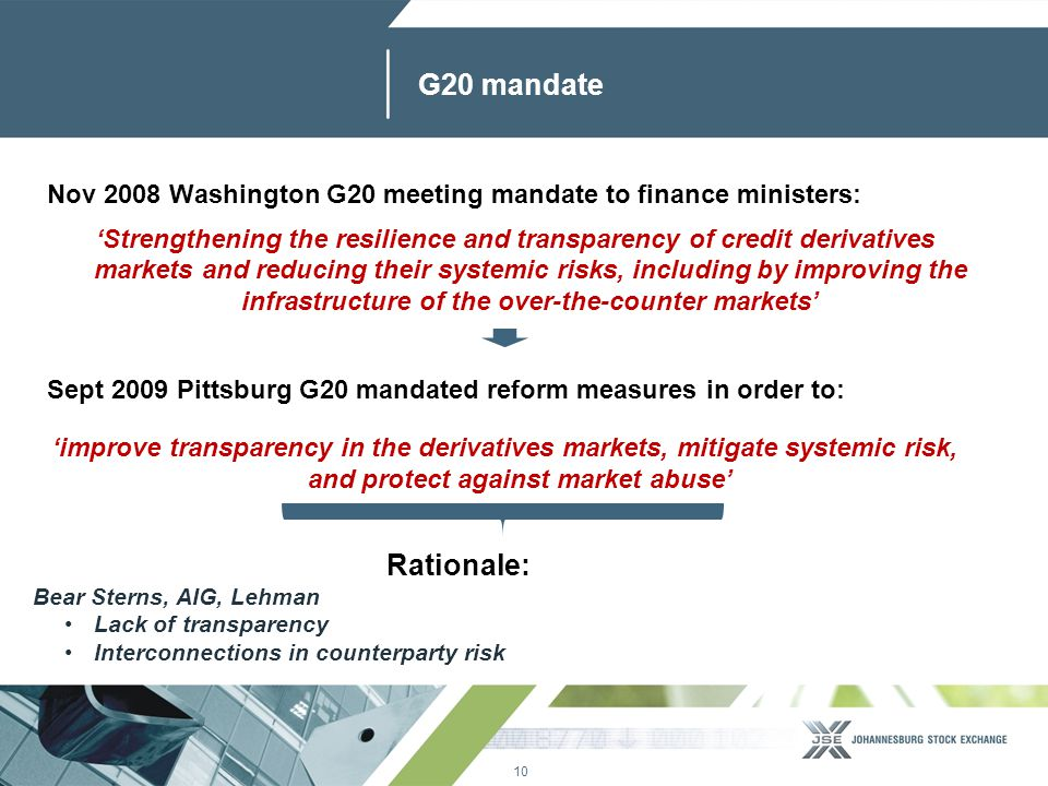10 www.jse.co.za G20 mandate Nov 2008 Washington G20 meeting mandate to finance ministers: 'Strengthening the resilience and transparency of credit derivatives markets and reducing their systemic risks, including by improving the infrastructure of the over-the-counter markets' Sept 2009 Pittsburg G20 mandated reform measures in order to: 'improve transparency in the derivatives markets, mitigate systemic risk, and protect against market abuse' Rationale: Bear Sterns, AIG, Lehman Lack of transparency Interconnections in counterparty risk