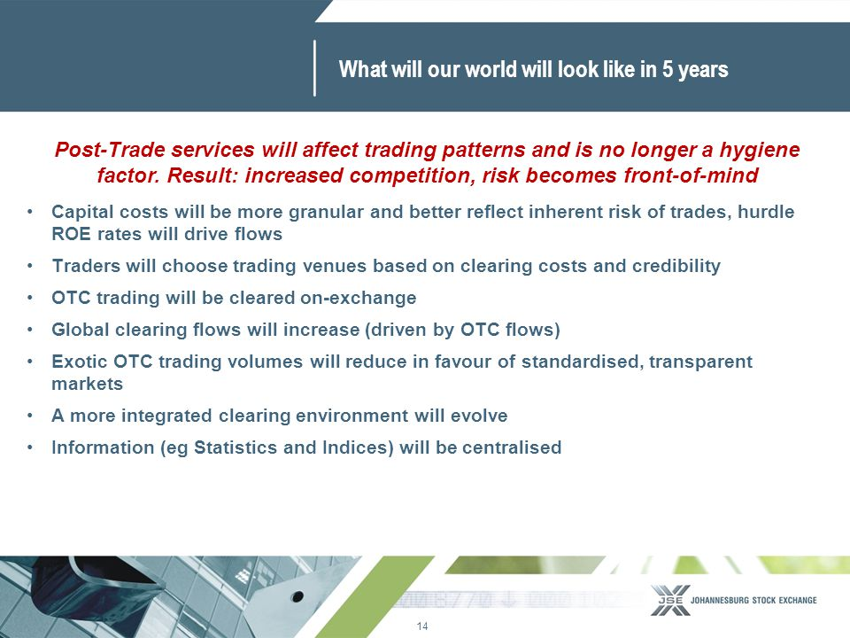 14 www.jse.co.za What will our world will look like in 5 years Capital costs will be more granular and better reflect inherent risk of trades, hurdle