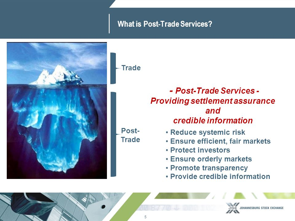 5 www.jse.co.za What is Post-Trade Services? Trade Post- Trade Reduce systemic risk Ensure efficient, fair markets Protect investors Ensure orderly ma