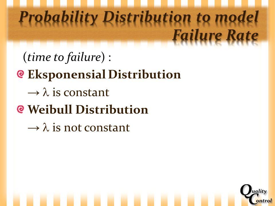 (time to failure) : Eksponensial Distribution → is constant Weibull Distribution → is not constant