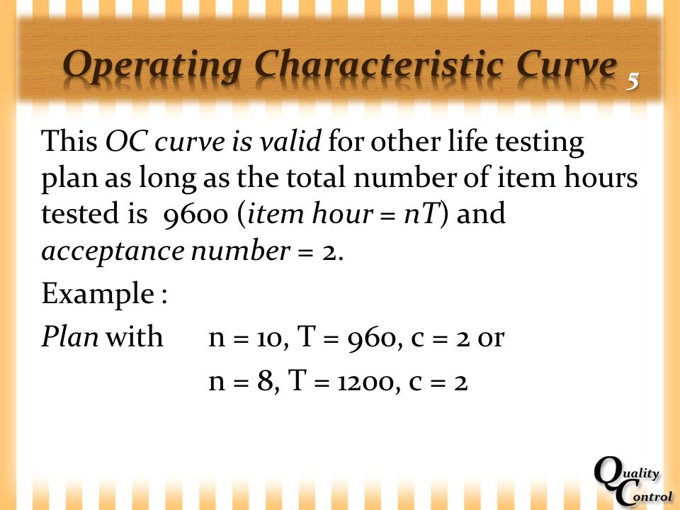 This OC curve is valid for other life testing plan as long as the total number of item hours tested is 9600 (item hour = nT) and acceptance number = 2