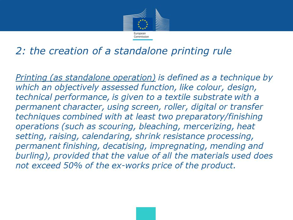 2: the creation of a standalone printing rule Printing (as standalone operation) is defined as a technique by which an objectively assessed function,