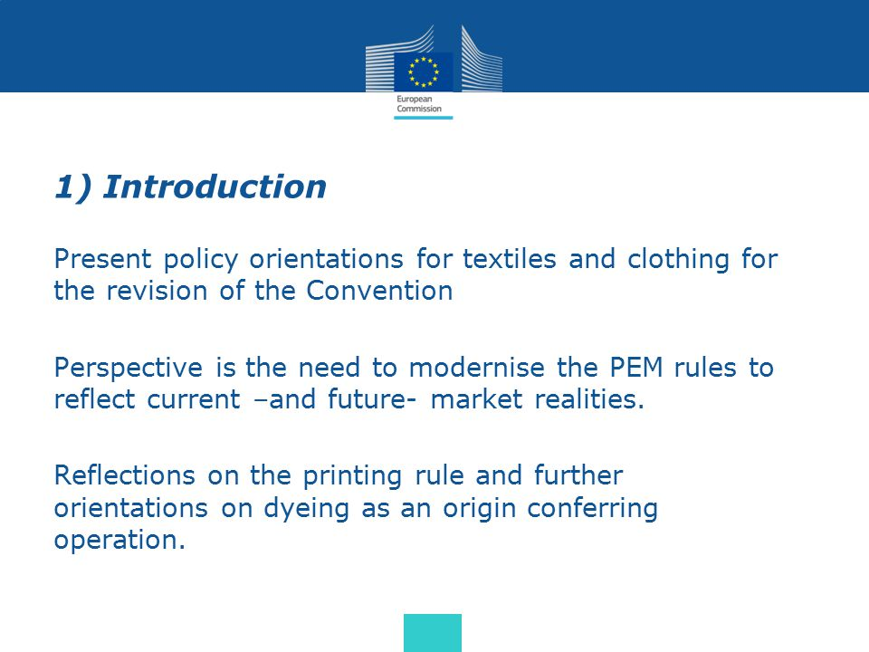 1) Introduction Present policy orientations for textiles and clothing for the revision of the Convention Perspective is the need to modernise the PEM