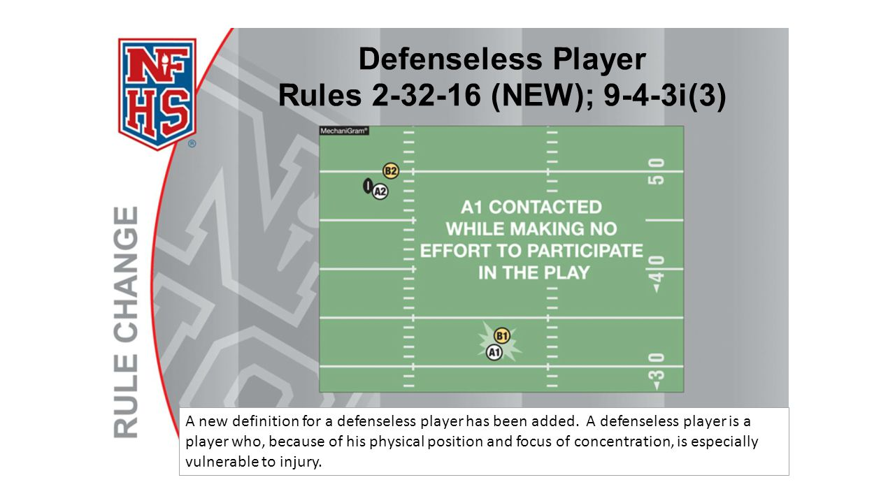 A new definition for a defenseless player has been added. A defenseless player is a player who, because of his physical position and focus of concentr