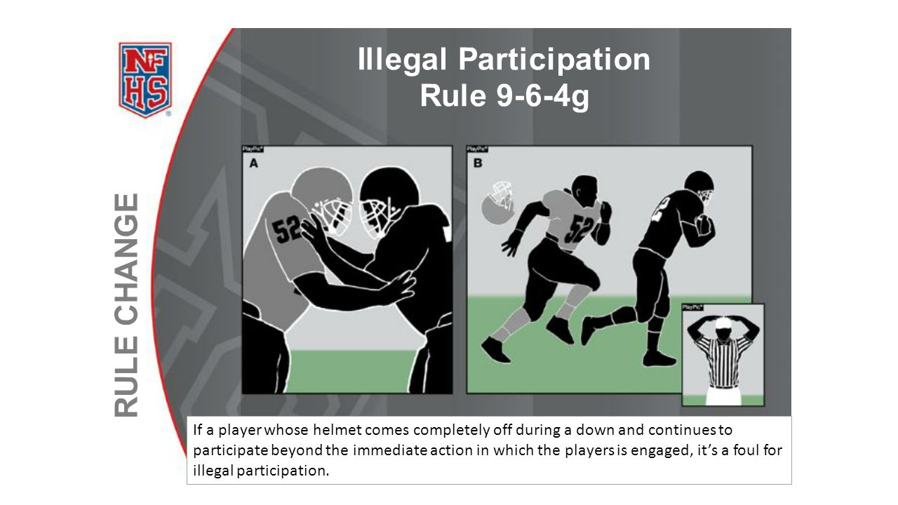 If a player whose helmet comes completely off during a down and continues to participate beyond the immediate action in which the players is engaged,