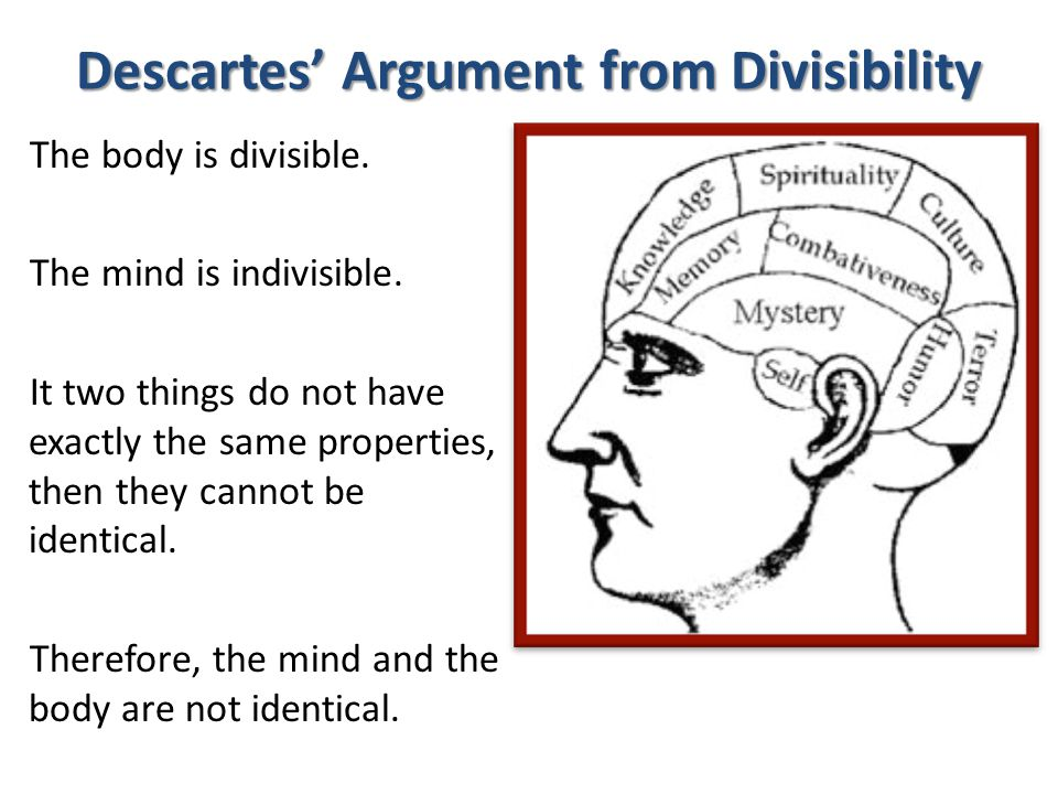 Argument from Consciousness The mind is a thing that thinks and is self-aware.