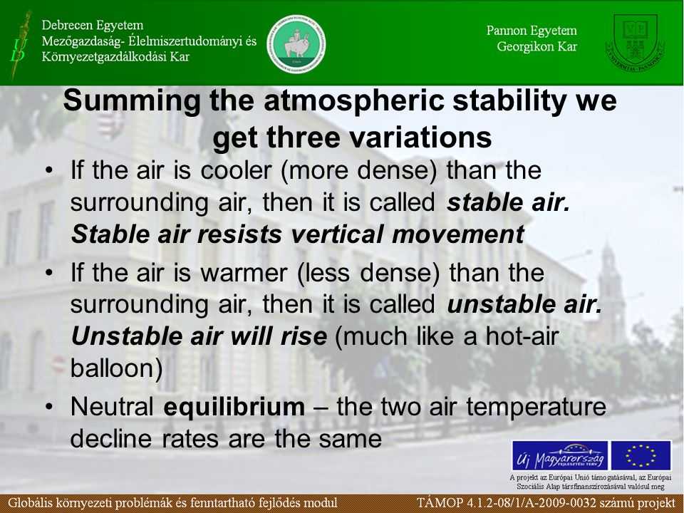 Summing the atmospheric stability we get three variations If the air is cooler (more dense) than the surrounding air, then it is called stable air. St