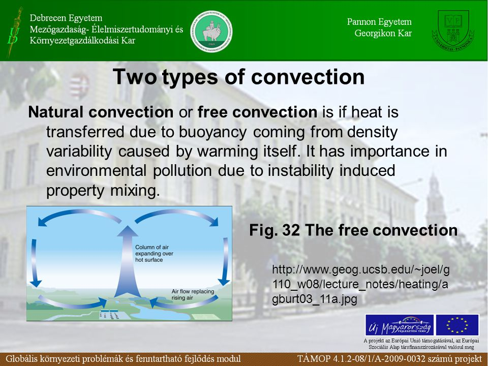 Two types of convection Natural convection or free convection is if heat is transferred due to buoyancy coming from density variability caused by warm