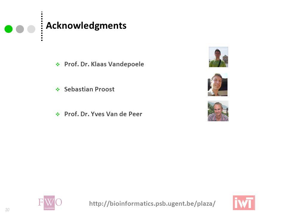 30 Acknowledgments  Prof.Dr. Klaas Vandepoele  Sebastian Proost  Prof.