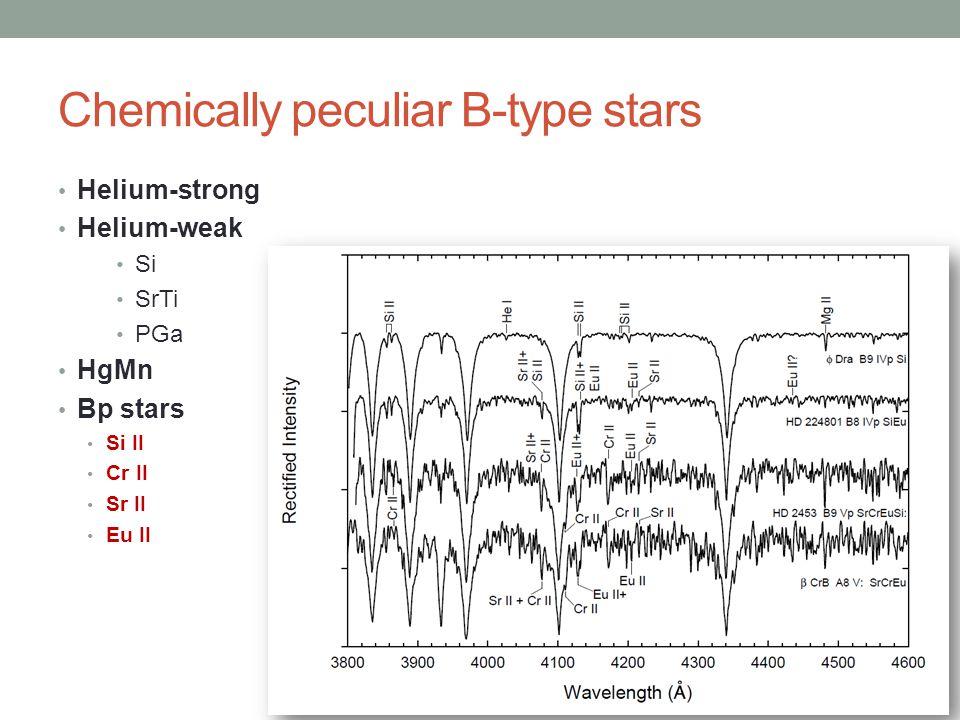 Chemically peculiar B-type stars Helium-strong Helium-weak Si SrTi PGa HgMn Bp stars Si II Cr II Sr II Eu II