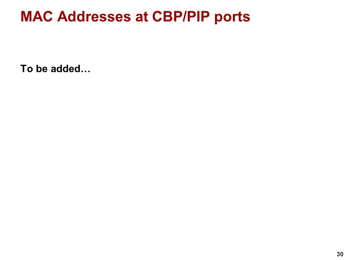 30 MAC Addresses at CBP/PIP ports To be added…