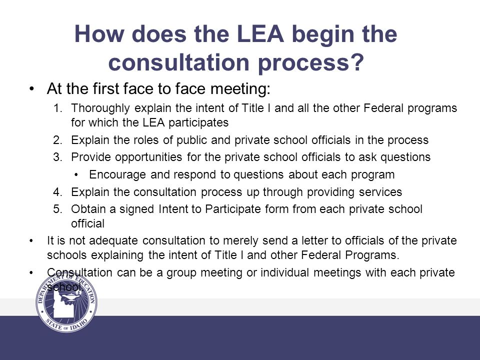 How does the LEA begin the consultation process.