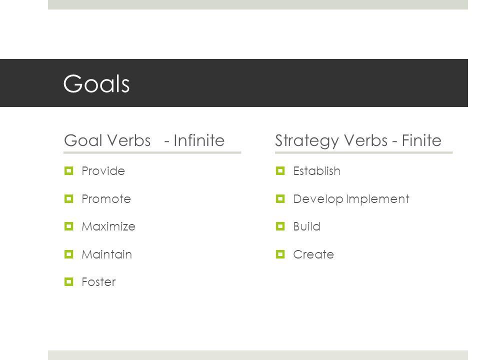 Goals Goal Verbs - Infinite  Provide  Promote  Maximize  Maintain  Foster Strategy Verbs - Finite  Establish  Develop Implement  Build  Creat