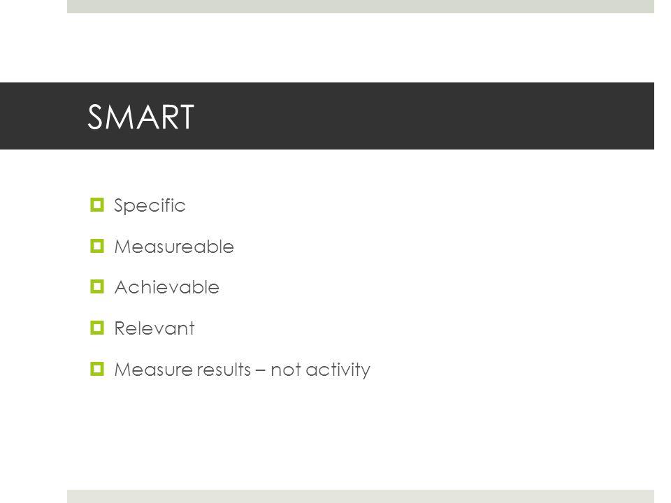 SMART  Specific  Measureable  Achievable  Relevant  Measure results – not activity