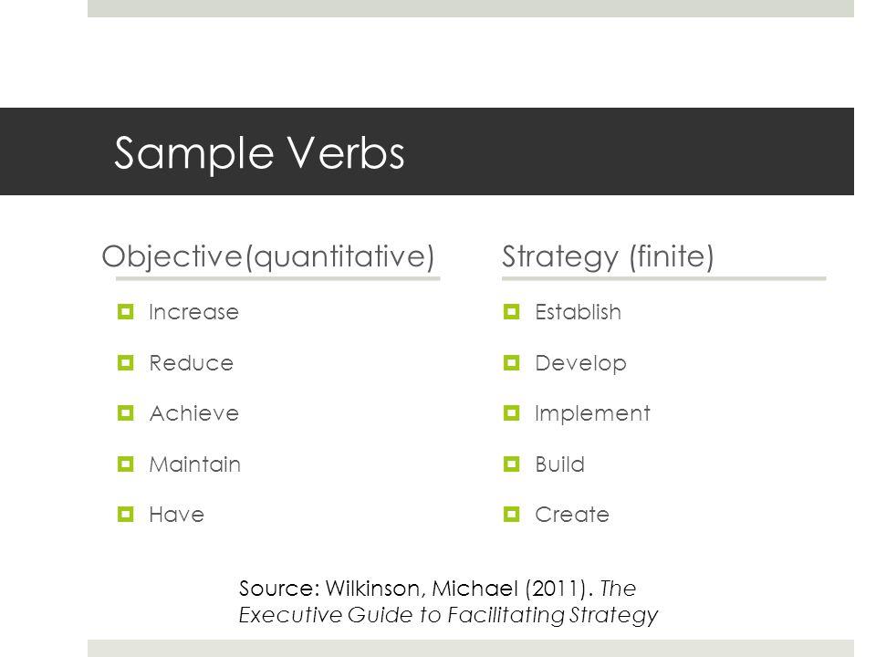 Sample Verbs Objective(quantitative)  Increase  Reduce  Achieve  Maintain  Have Strategy (finite)  Establish  Develop  Implement  Build  Cre