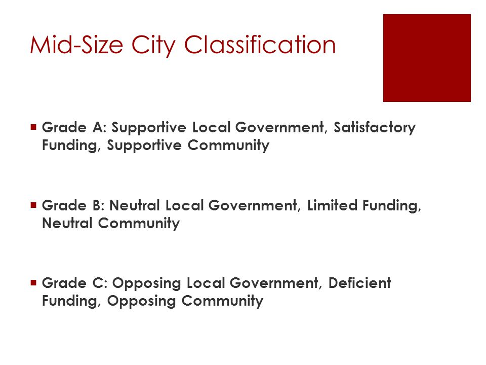 Mid-Size City Classification  Grade A: Supportive Local Government, Satisfactory Funding, Supportive Community  Grade B: Neutral Local Government, Limited Funding, Neutral Community  Grade C: Opposing Local Government, Deficient Funding, Opposing Community