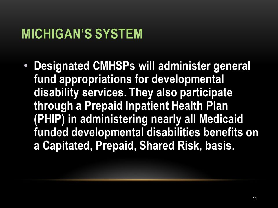 MICHIGAN'S SYSTEM Designated CMHSPs will administer general fund appropriations for developmental disability services.