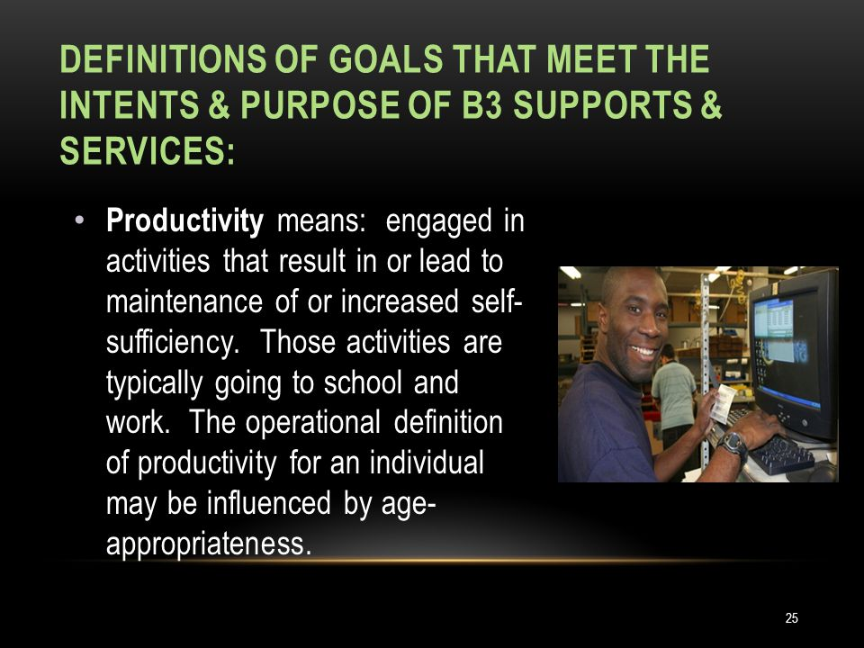 DEFINITIONS OF GOALS THAT MEET THE INTENTS & PURPOSE OF B3 SUPPORTS & SERVICES: Productivity means: engaged in activities that result in or lead to maintenance of or increased self- sufficiency.