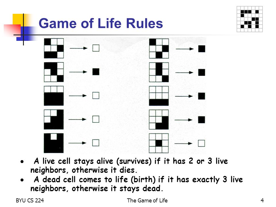 BYU CS 224The Game of Life5 The Game of Life Rules The Game of Life is theoretically played on an infinite Cartesian grid of square cells; each cell is either alive or dead .