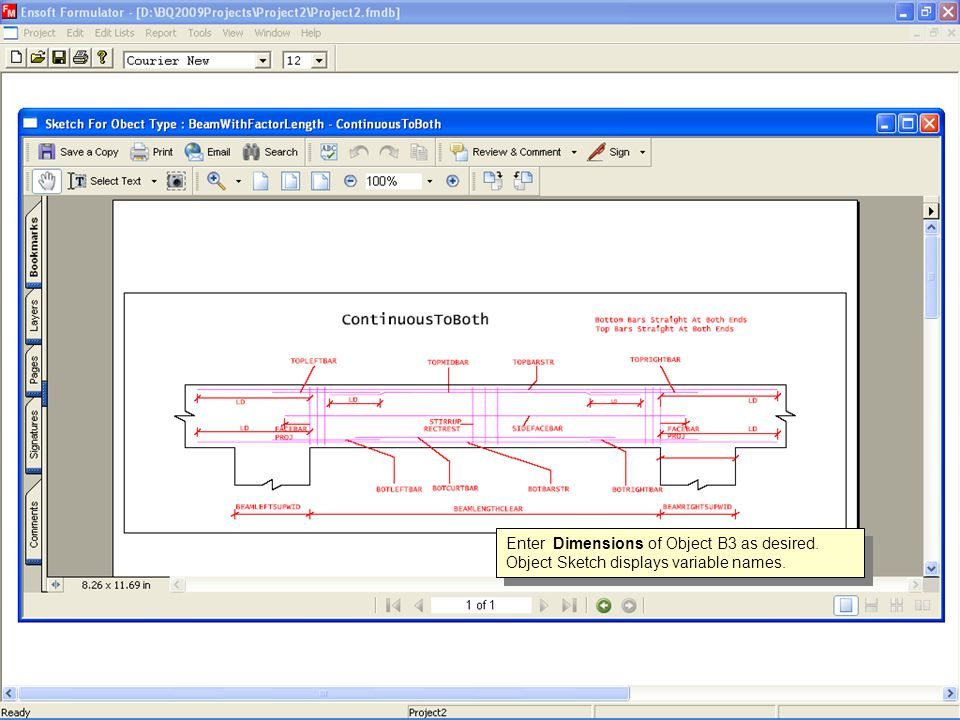 Enter Dimensions of Object B3 as desired. Object Sketch displays variable names.