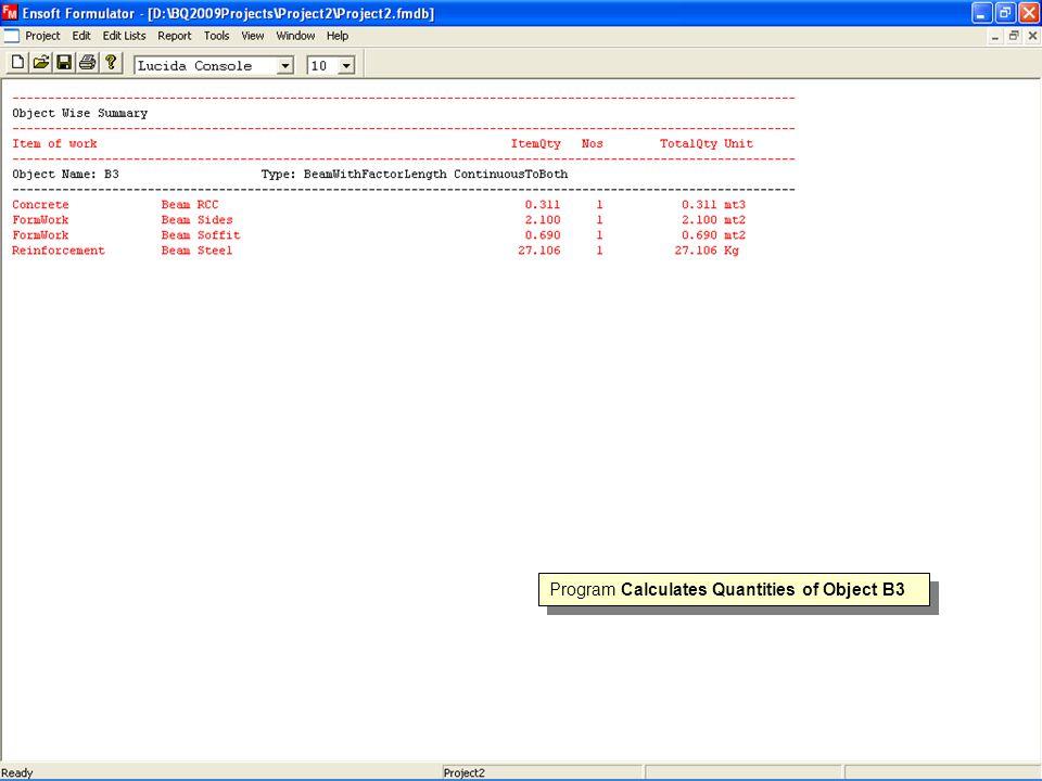 Program Calculates Quantities of Object B3