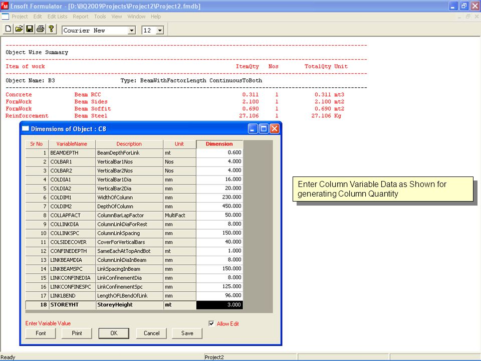 Enter Column Variable Data as Shown for generating Column Quantity