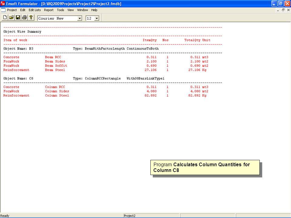 Program Calculates Column Quantities for Column C8