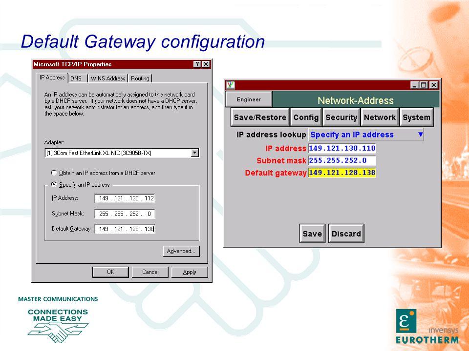 Default Gateway configuration