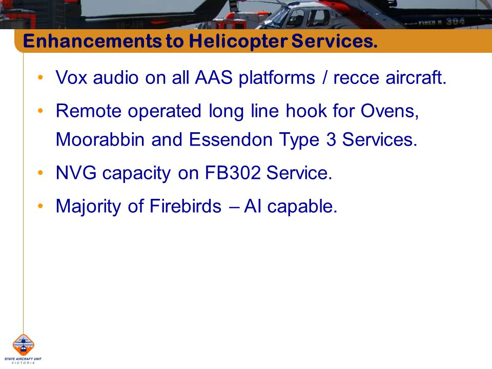 Vox audio on all AAS platforms / recce aircraft.