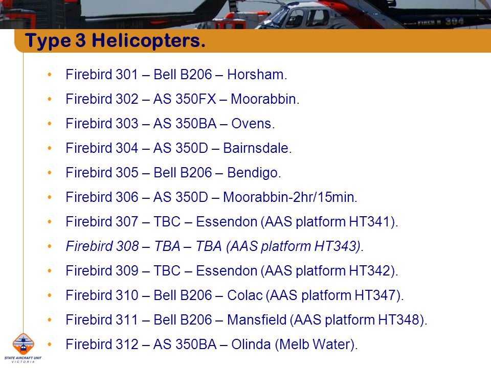 Type 3 Helicopters. Firebird 301 – Bell B206 – Horsham.