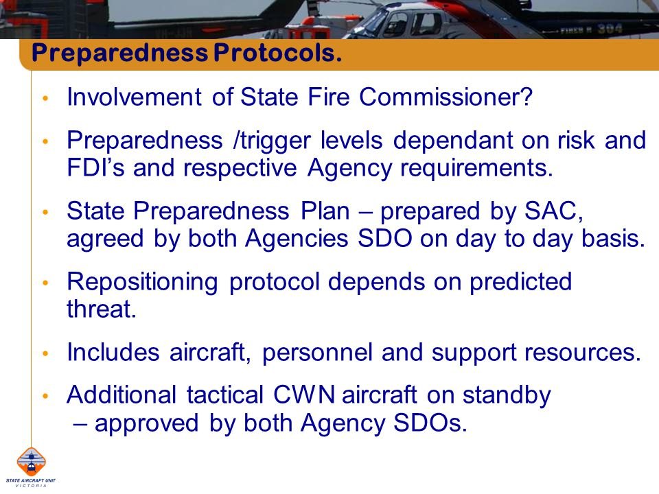 Preparedness Protocols. Involvement of State Fire Commissioner.