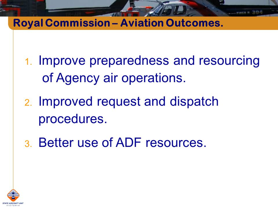 Royal Commission – Aviation Outcomes. 1.